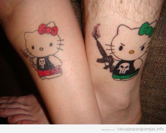 Hello Kitty con revólver y metralleta, tatuaje original para ...