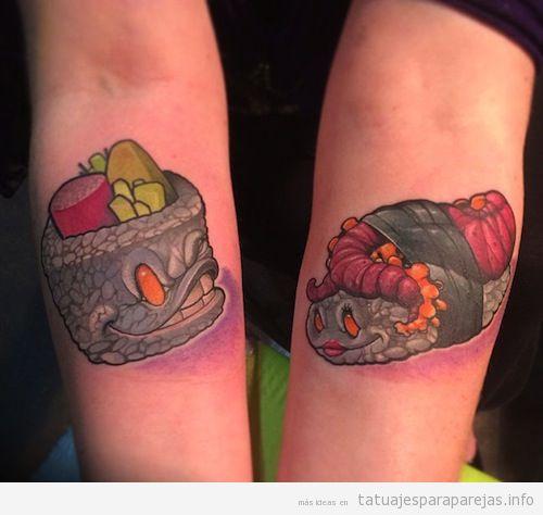 Tatuajes pareja estilo japonés, sushi