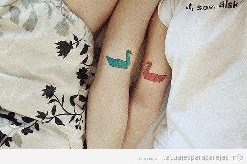 Tatuajes pareja estilo japonés, pájaros origami