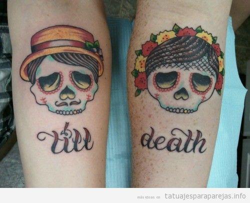 Tatuaje en pareja a juego, calaveras till death
