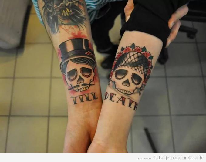 Tatuaje en pareja a juego, calaveras till death 2