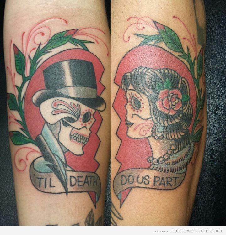 Tatuaje de calaveras en pareja