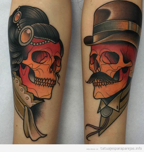 Tatuaje de calaveras en pareja 4