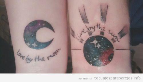 Tatuajes en pareja de la lun y el sol en antebrazo 2