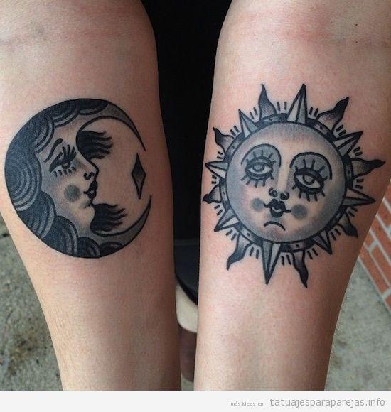 Tatuajes en pareja de la lun y el sol en antebrazo 4