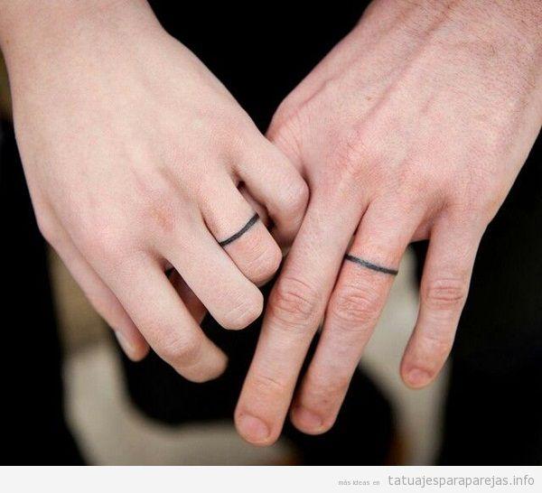 Tatuaje anillos pareja geométricos y minimalistas 2