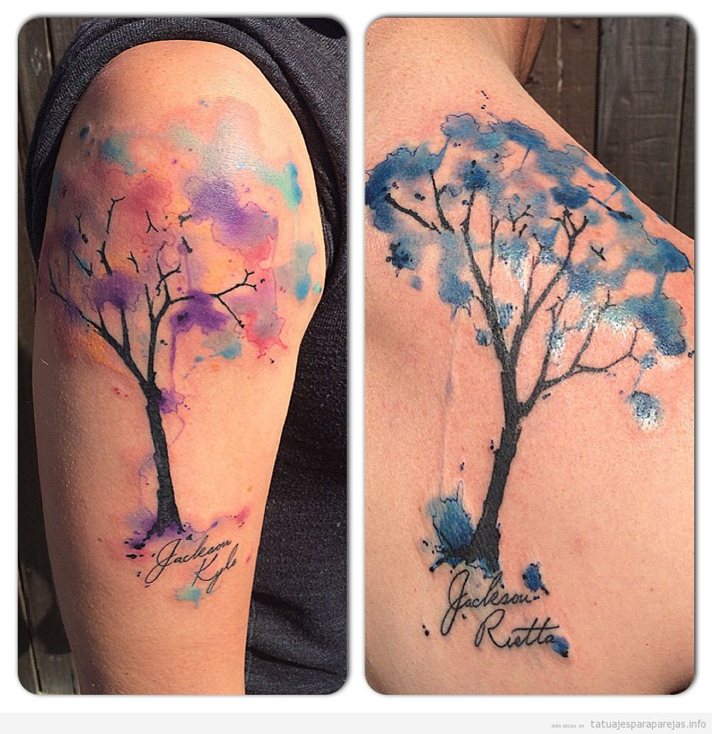 Tatuajes artísticos en pareja, árboles acuarela