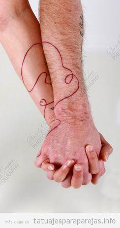 Tatuaje hilo rojo del destino en pareja 4